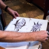 "Kocher displays two pieces of art drawn by David Albert Mitchell, better known as ""The Beast of Central Park."" Arrested in September last year for allegedly beating and sexually assaulting a 73-year-old birdwatcher, Mitchell was the only person who ever stole from Kocher when he was living in Central Park. Kocher plans to frame them once he gets an office to hang them in."